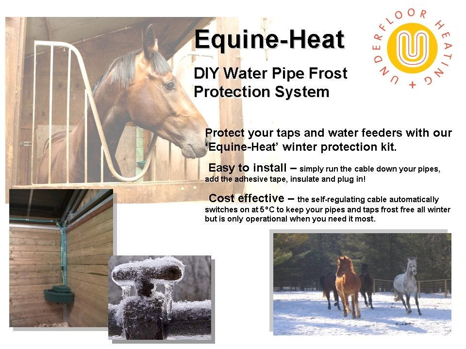 DIY water pipe frost protection from www.equine-heat.co.uk. Prices start from £45